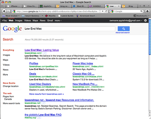 Google search for Low End Mac