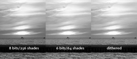 8-bit and 6-bit grayscale images