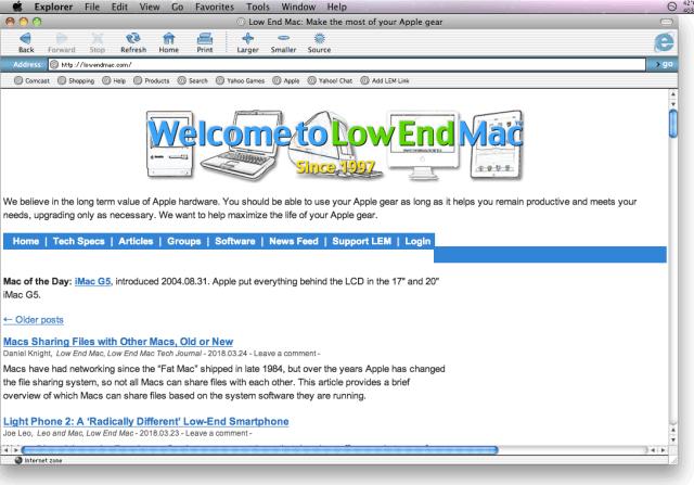 Microsoft Internet Explorer 5.2.3 in Mac OS X