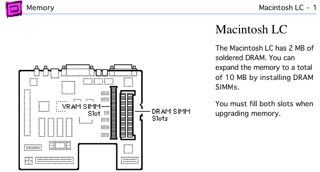 Mac LC page from Apple Memory Guide