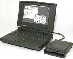 PowerBook 100 with floppy drive