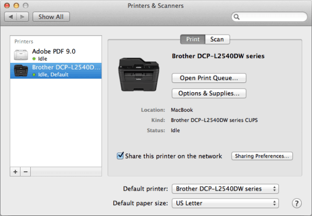 Share this printer on the network enabled
