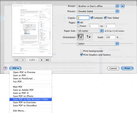 Save PDF to Web Receipts Folder