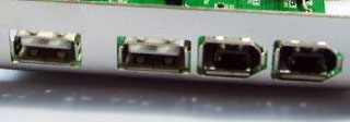 USB and FireWire 400 ports