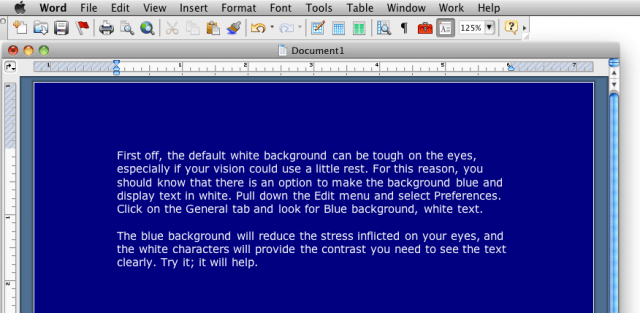 Microsoft Word 2004, blue background, white text
