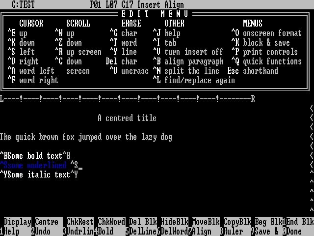 WordStar screen shot