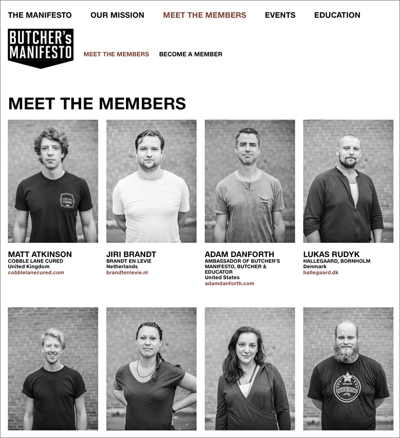 Website for Butcher's Manifesto, design Lower East