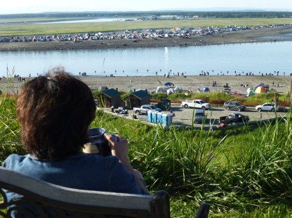Watching the action below from the bluff at the RV park