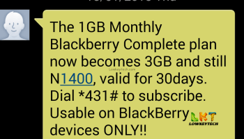 Airtel Bis Now N1000 For 3GB On Only BB Device And N1500 For