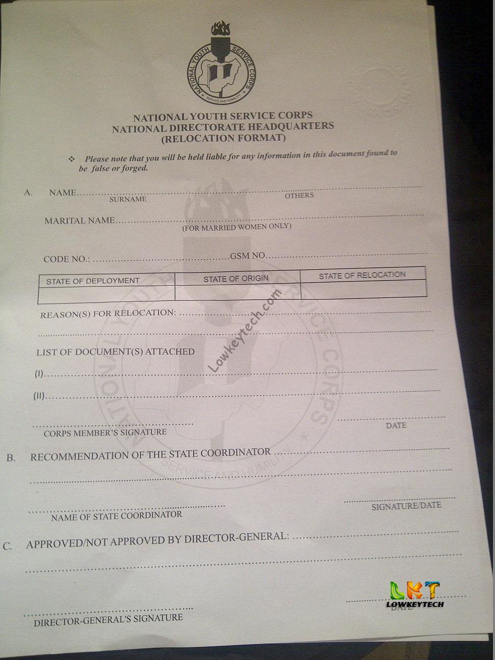 application letter for nysc redeployment