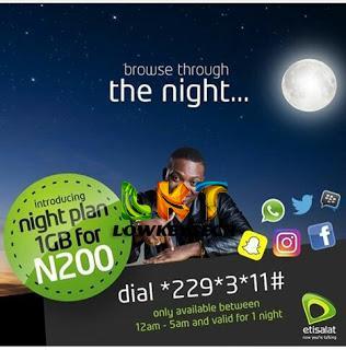 Etisalat Night Data Plan 1GB For N200 Lowkeytech