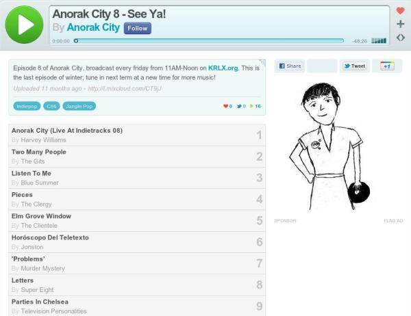 Screen capture of the the Mixcloud page for Anorak City 8 which includeds The Gits' Two Many People