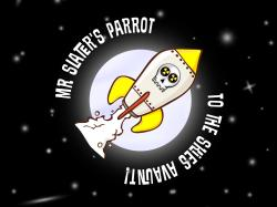 Mr Slater's Parrot's space ship in front of a moon