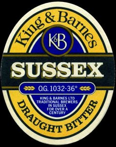 King & Barnes Sussex Bitter Beer Label (pre-Hall & Woodhouse)