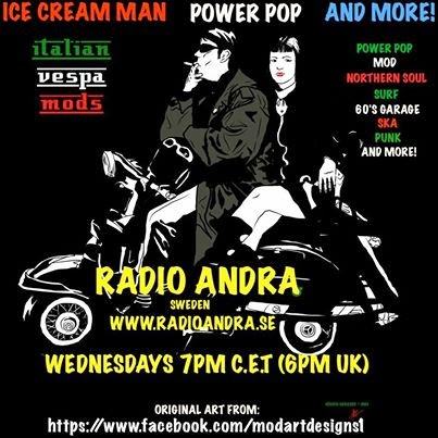 Ice Cream Power Pop And More Radio Show Graphic of a drawing of a couple on a scooter failing to observe sensible precautions