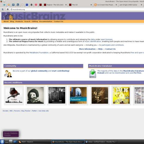 Screen capture of front page of MusicBrainz website with Gits CD displayed with latest additions.
