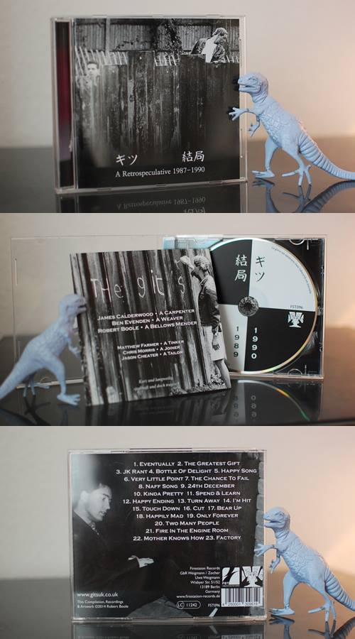 Various angles of Gits Retrospeculative CD with a small plastic dinosaur in support.