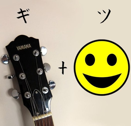 Guitar headstock and smiling face compared to kana for Gits in Japanese