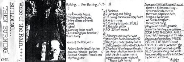 Fold out insert from the cassette version of Building Then Burning. The front is a bad photocopy of a photograph of Richard.