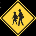 Road side information style sign in black on yellow showing a couple walking