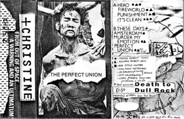 Cover of the cassette Perfect Union in a collage and letraset style