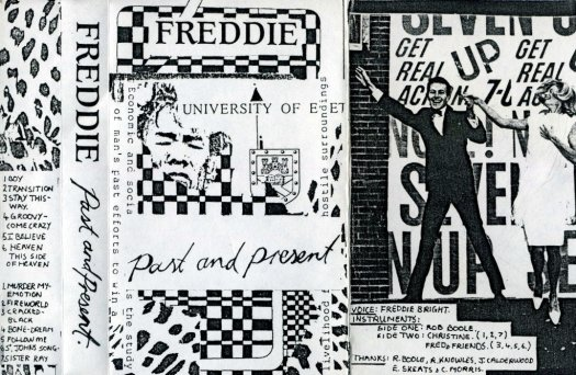 Cover of the Freddie Past & Present cassette album which is a combination of hand written title and personnel information and cut and pasted images