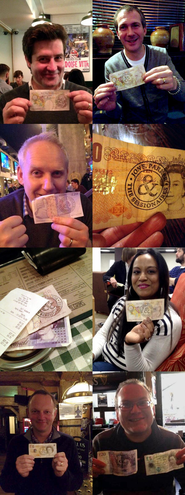 Assorted ne're-do-wells holding notes marked with the Jon E. Parker and the Sessions stamped logo.