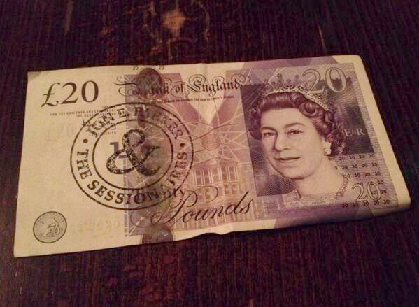 Twenty pound note marked with the Jon E. Parker and the Sessions stamped logo.