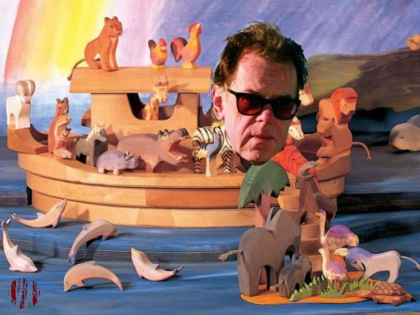 A toy wooden Noah's ark with the head of Jonathan Meades on its bow.