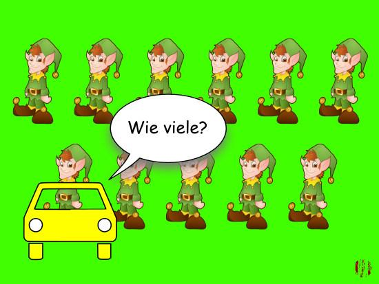 """A car-toon car in front of eleven elves asks, """"Wie viele?""""."""