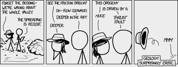 Xkcd cartoon pointing out how geological terminology can sound erotic in the right circumstances.