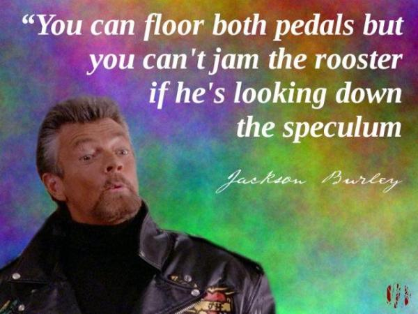 You can floor both pedals but you can't jam the rooster if he's looking down your speculum
