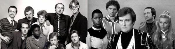 Bob Fish with the original line up of Darts and Series 3 & 4 cast of Blakes 7