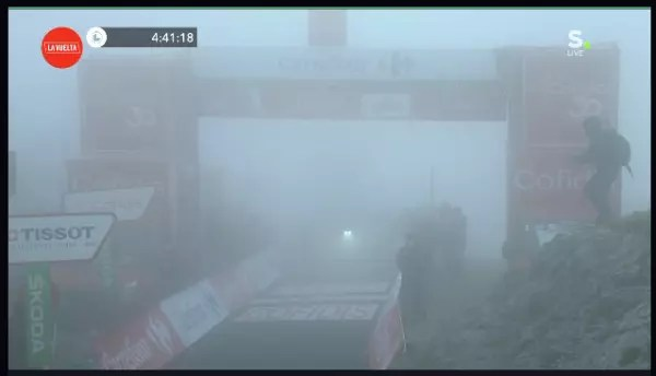 Fog shrouded moutain finish in the tour of Spain