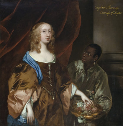 ELIZABETH MURRAY, LADY TOLLEMACHE, LATER COUNTESS OF DYSART AND DUCHESS OF LAUDERDALE WITH A BLACK SERVANT by Sir Peter Lely (1618-80), c.1651, painting in the Long Gallery at Ham House, Richmond-upon-Thames.