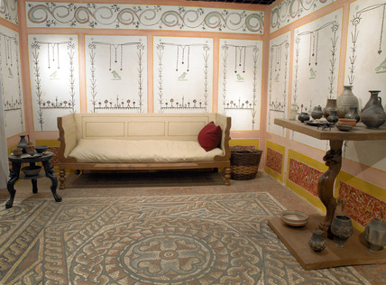 Detail Of A Reconstructed Roman Living Room At Museum Of London
