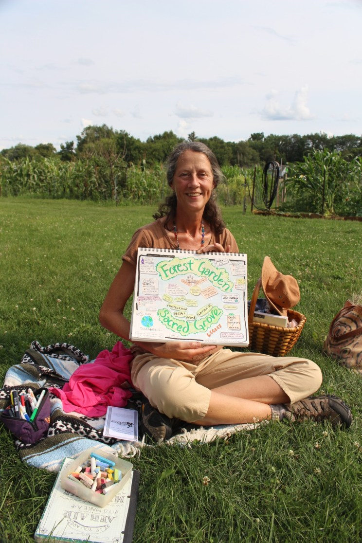 "Julie Swanson and her ""sketch note"" about the sacred grove session."