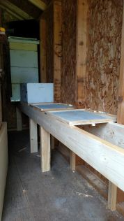 Inside of bee shed with one colony out of three installed.