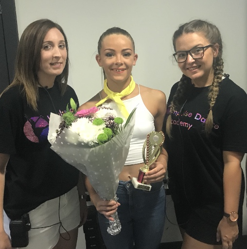 Molly Parker (middle) with Miss Michelle and Miss Becky from Impulse Dance Academy.