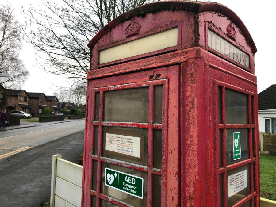 This old red phonebox on Slag Lane in Lowton hs been given a new lease of life as a defibrillator cabinet