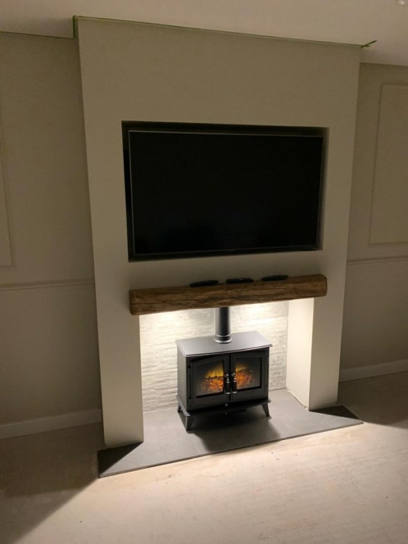media wall with fireplace and tv