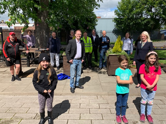 Local MP James Grundy on a socially distanced visit to see the work of the Golborne in Bloom volunteers at Golborne Library garden