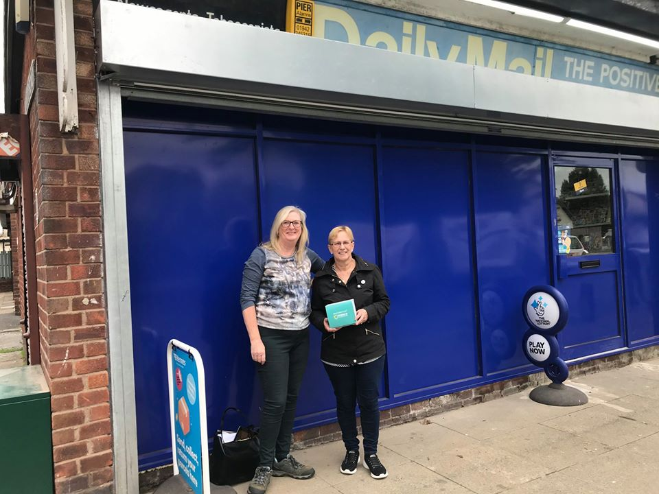 Cllrs Susan Gambles and Yvonne Klieve distributing face masks to local businesses in Lowton and Golborne