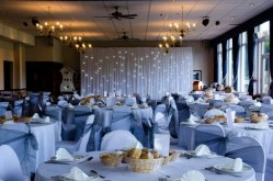 Function room at Haydock Park Golf Course set up for a wedding
