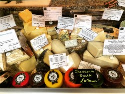 Cheeses on sale at The Deli at 40A in Newton-le-Willows