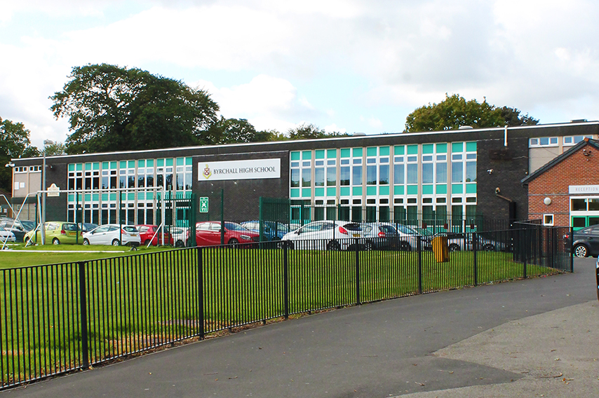 Byrchall High School in Ashton-in-Makerfield, viewed from the outside