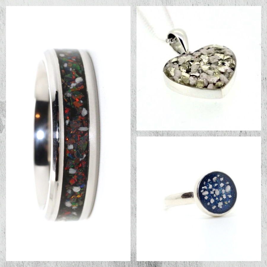 Some of the stunning ashes jewellery made by Forget Me Not ashes jewellery