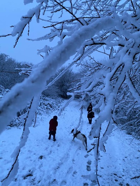 A snowy family walk at Pennington Flash, taken by Adam Birbeck