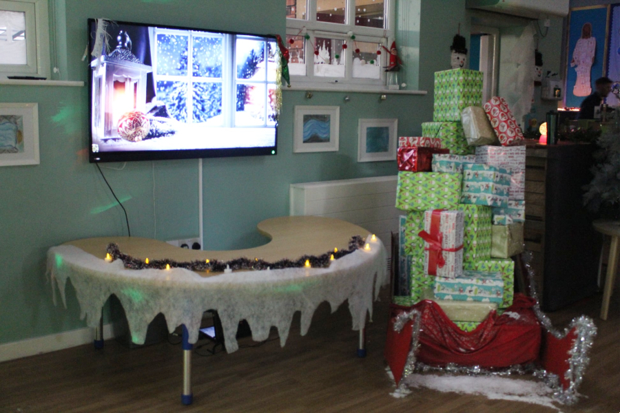 One of the festive displays at Golborne St Thomas' School