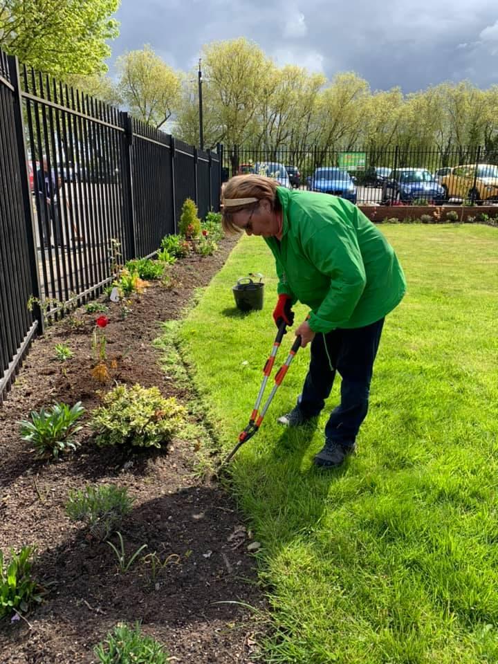 Golborne in Bloom volunteer trimming grass edges at a flower bed